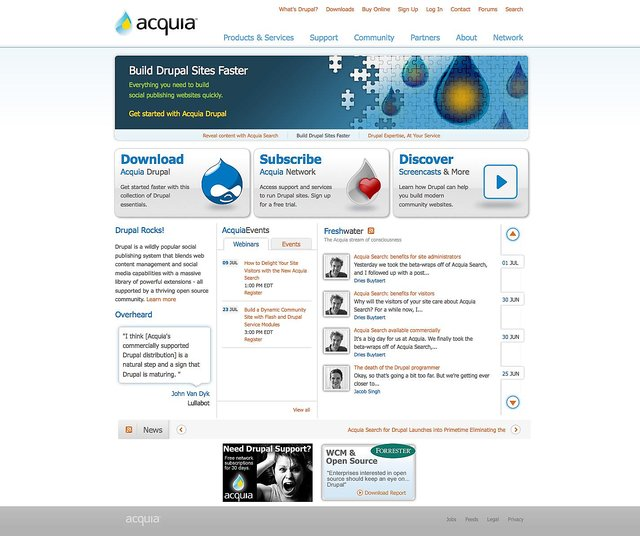Acquia.com in July 2009