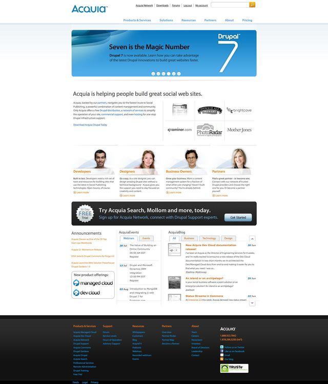 Acquia.com in June 2011