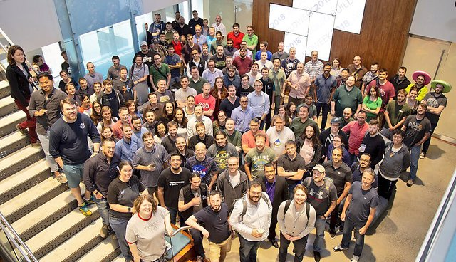 A photo of Acquia engineers, designers and product managers at Acquia Build Week 2018