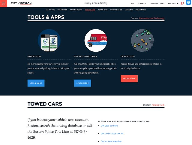Boston gov tools and apps