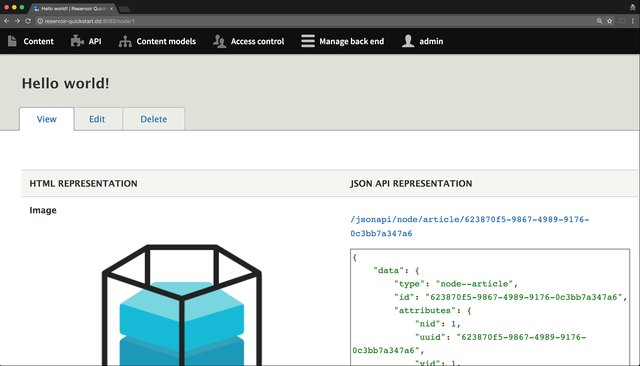 Reservoir side by side previews of HMTL and JSON API