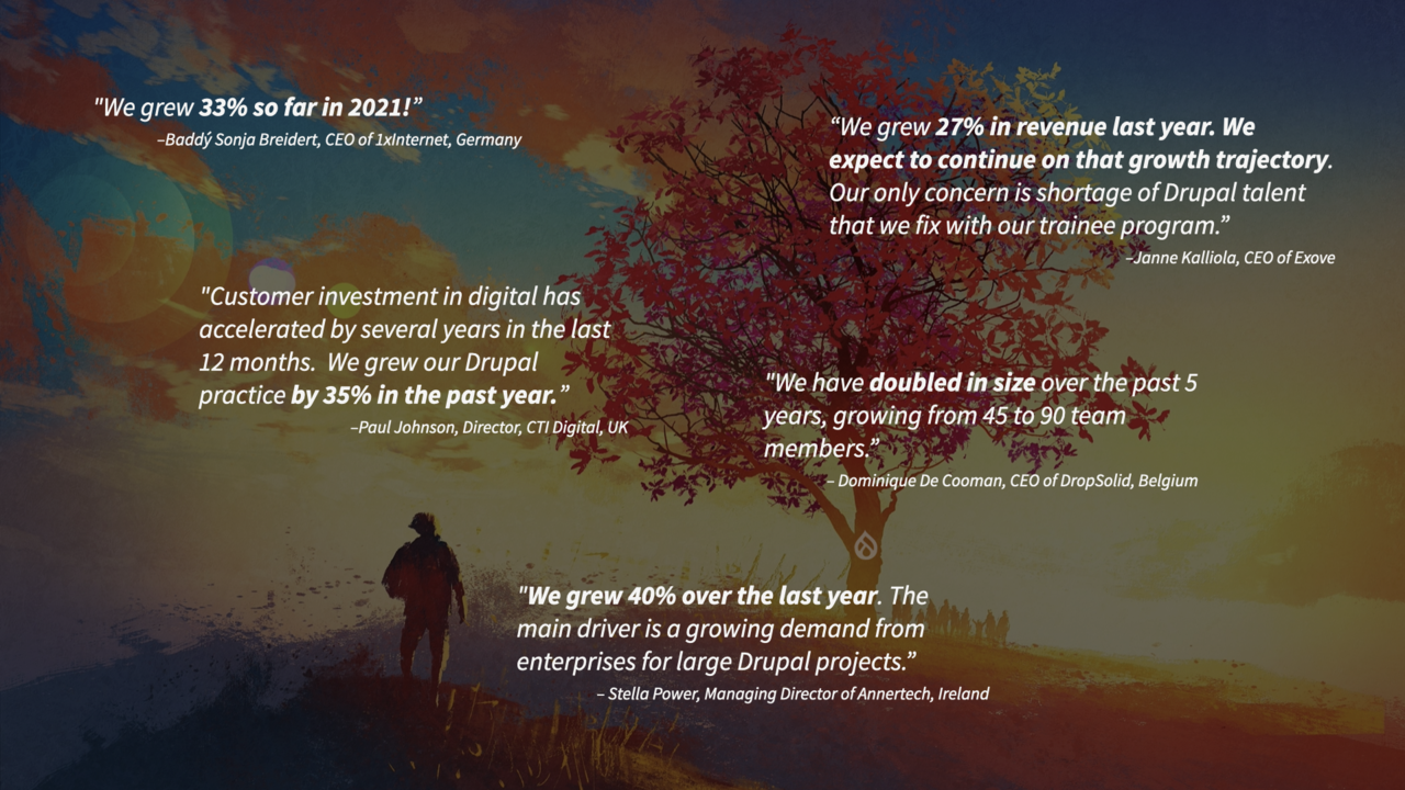 Slide with quotes from Drupal agencies CEOs stating that they are growing fast