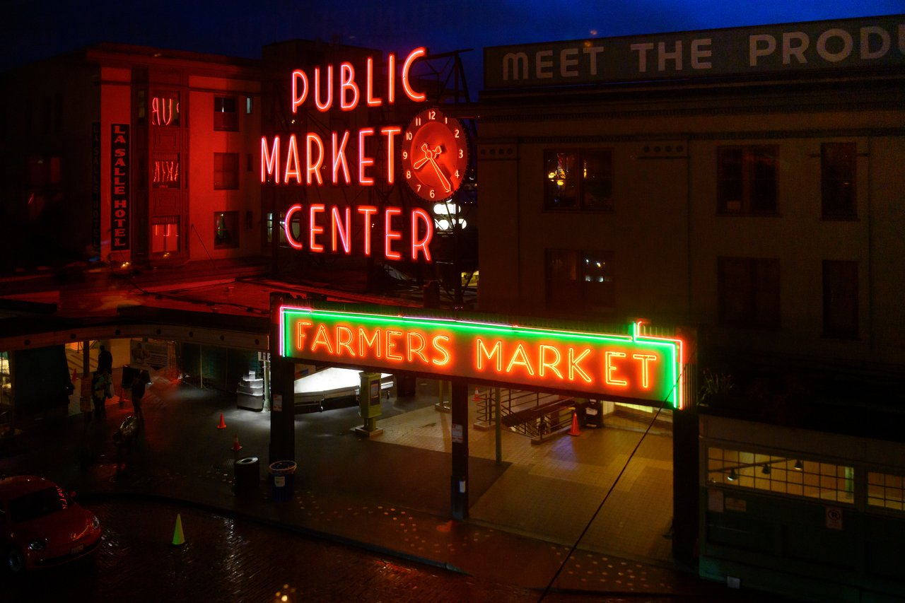 Neon signs at Seattle's Pike Place Market