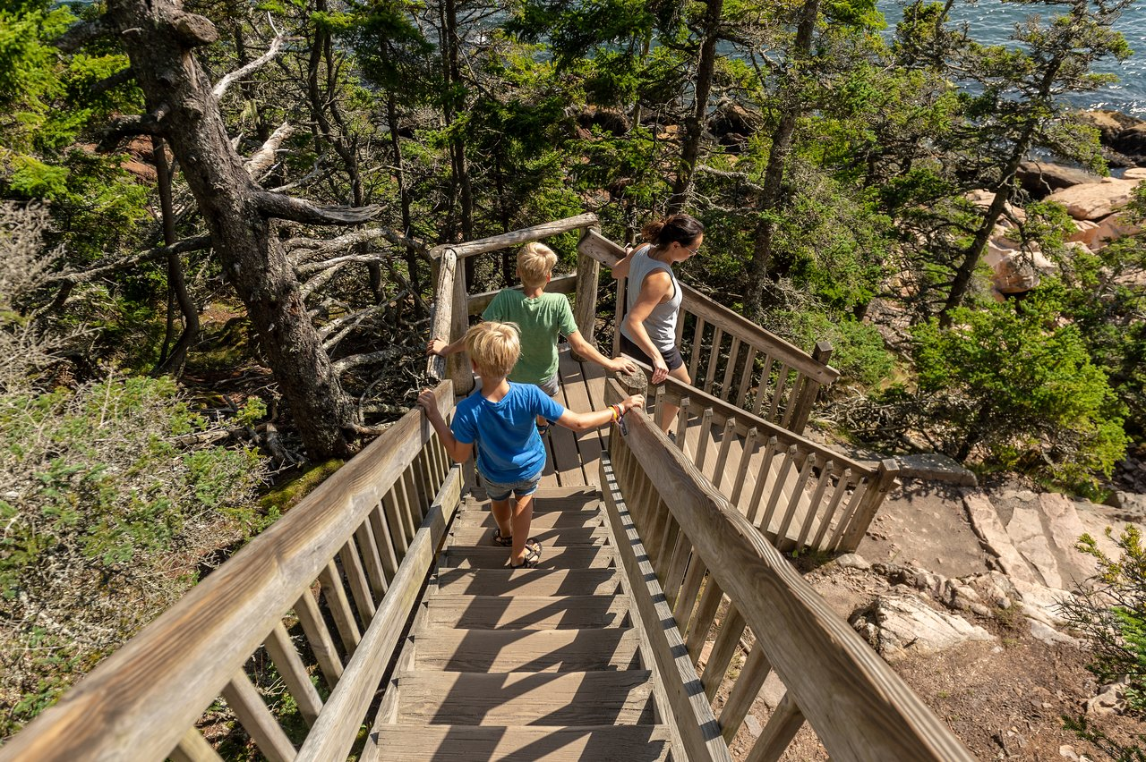Stairs to the rocks near Bass Harbor Lighthouse
