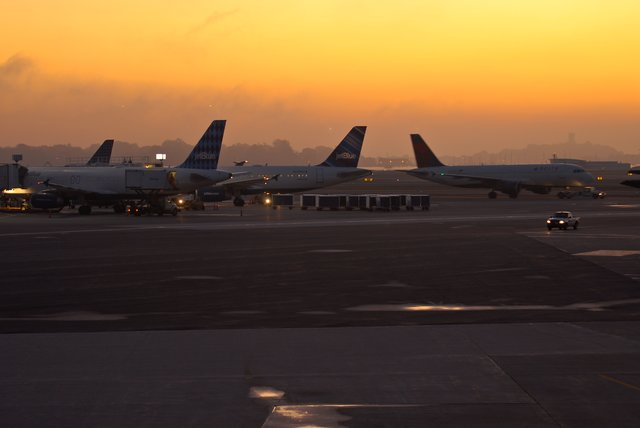 Logan airport at dawn