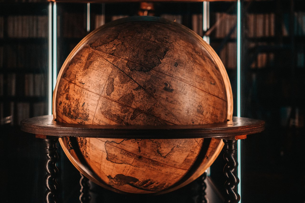 An old globe at the Plantin Moretus Museum
