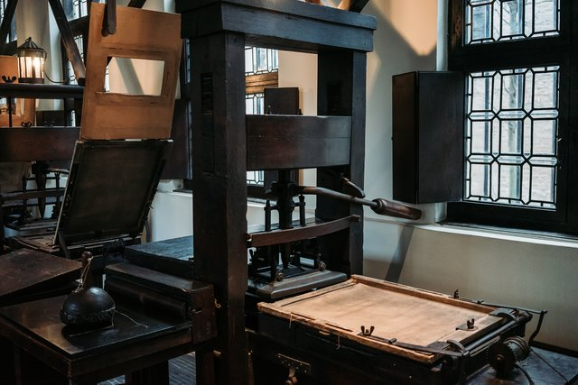 An old printing press at the Plantin Moretus Museum