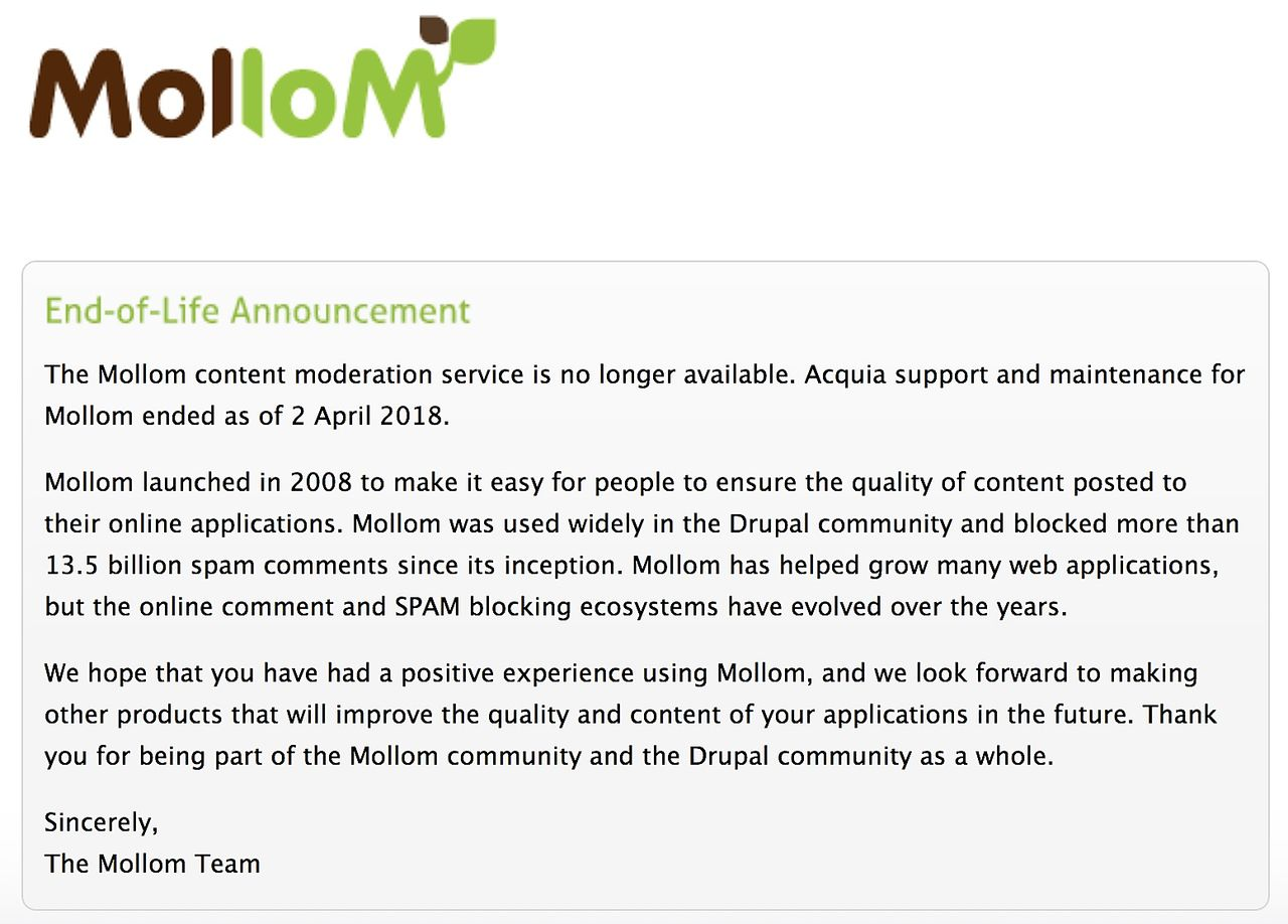 Mollom end of life announcement