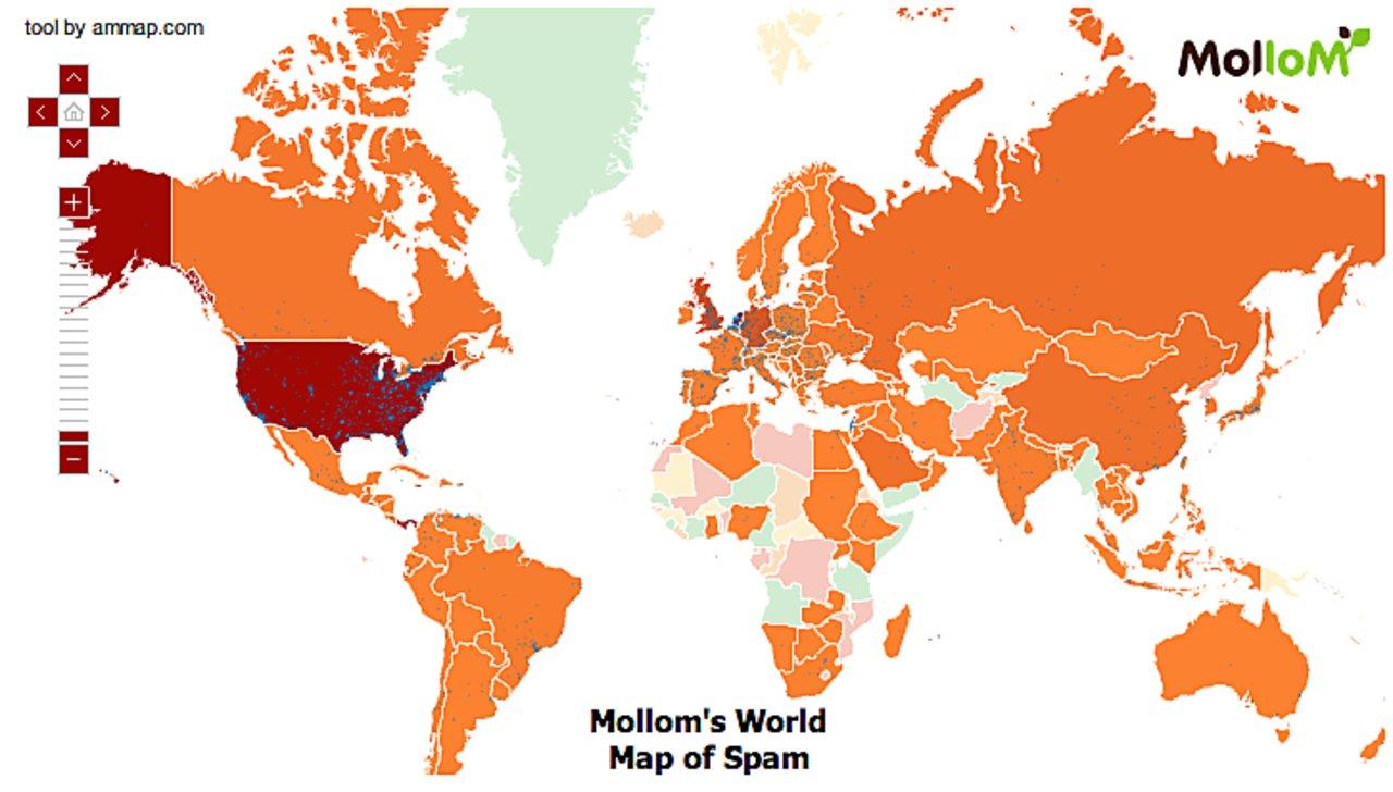 Mollom spam map world