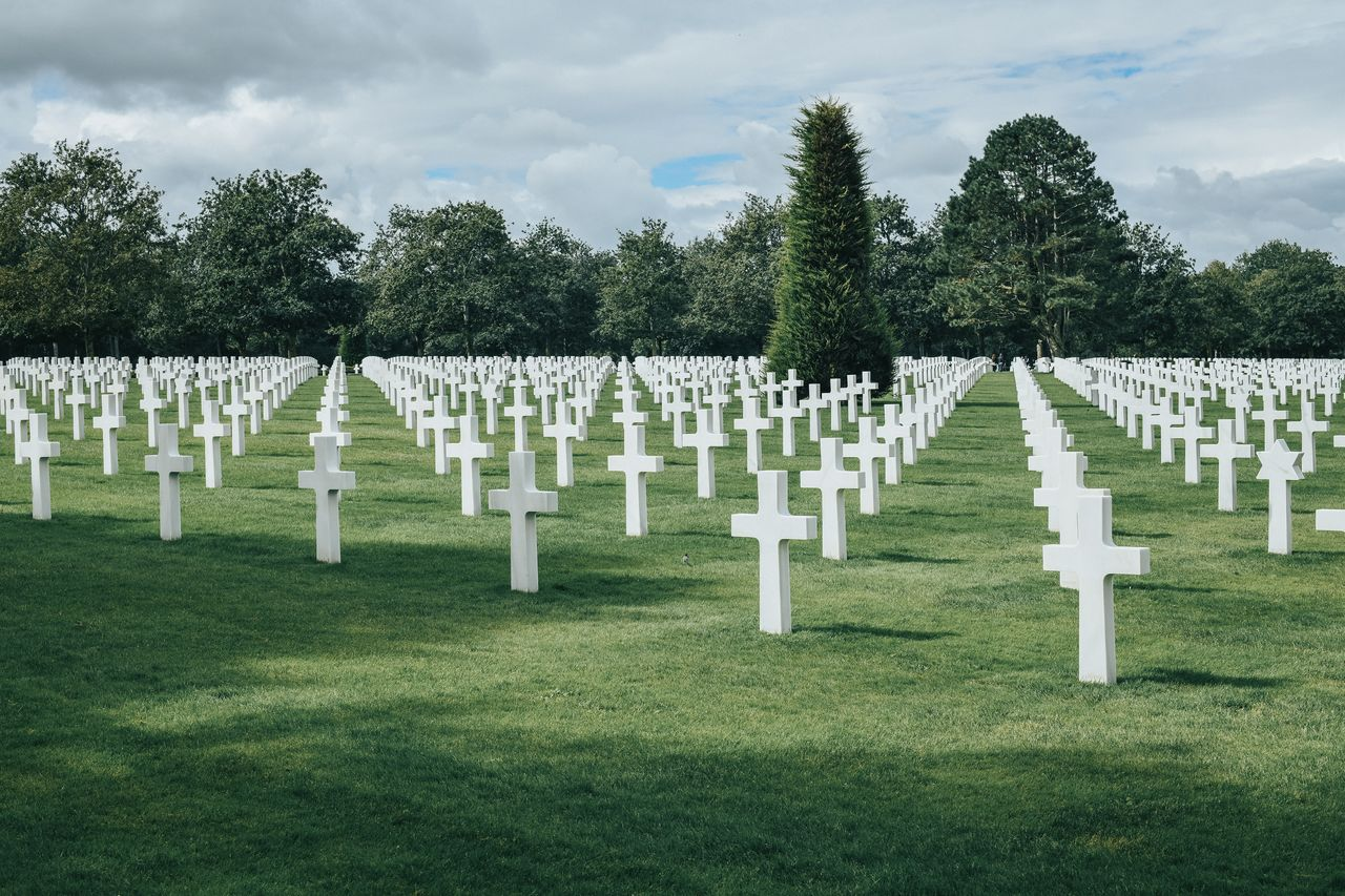 Hundreds of white crosses at the American cemetery in Colleville-sur-Mer