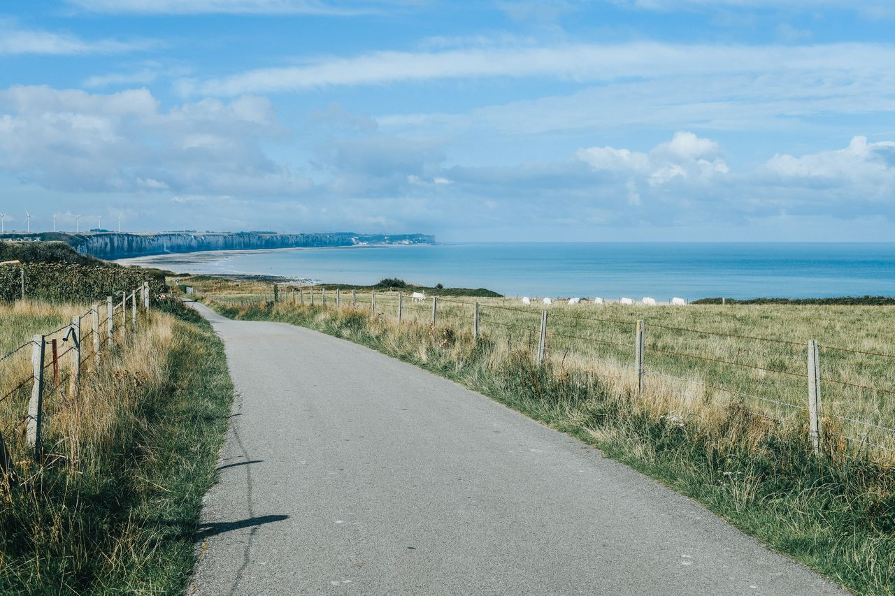 A narrow road along the coast in Normandy