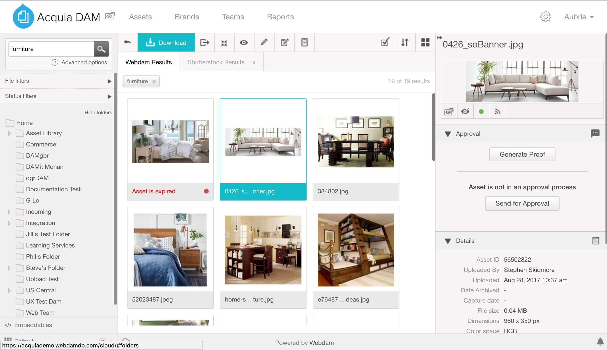 A screenshot of Acquia's Digital Asset Management solution