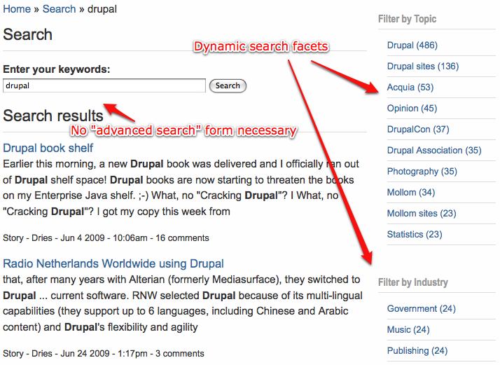 Acquia search dynamic facets