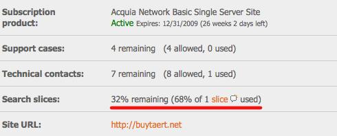 Acquia search subscription data
