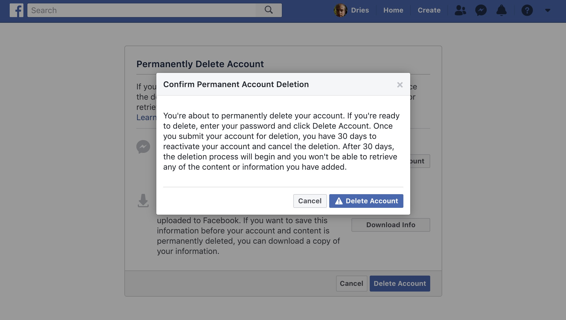 An image of Facebook's account deletion confirmation screen