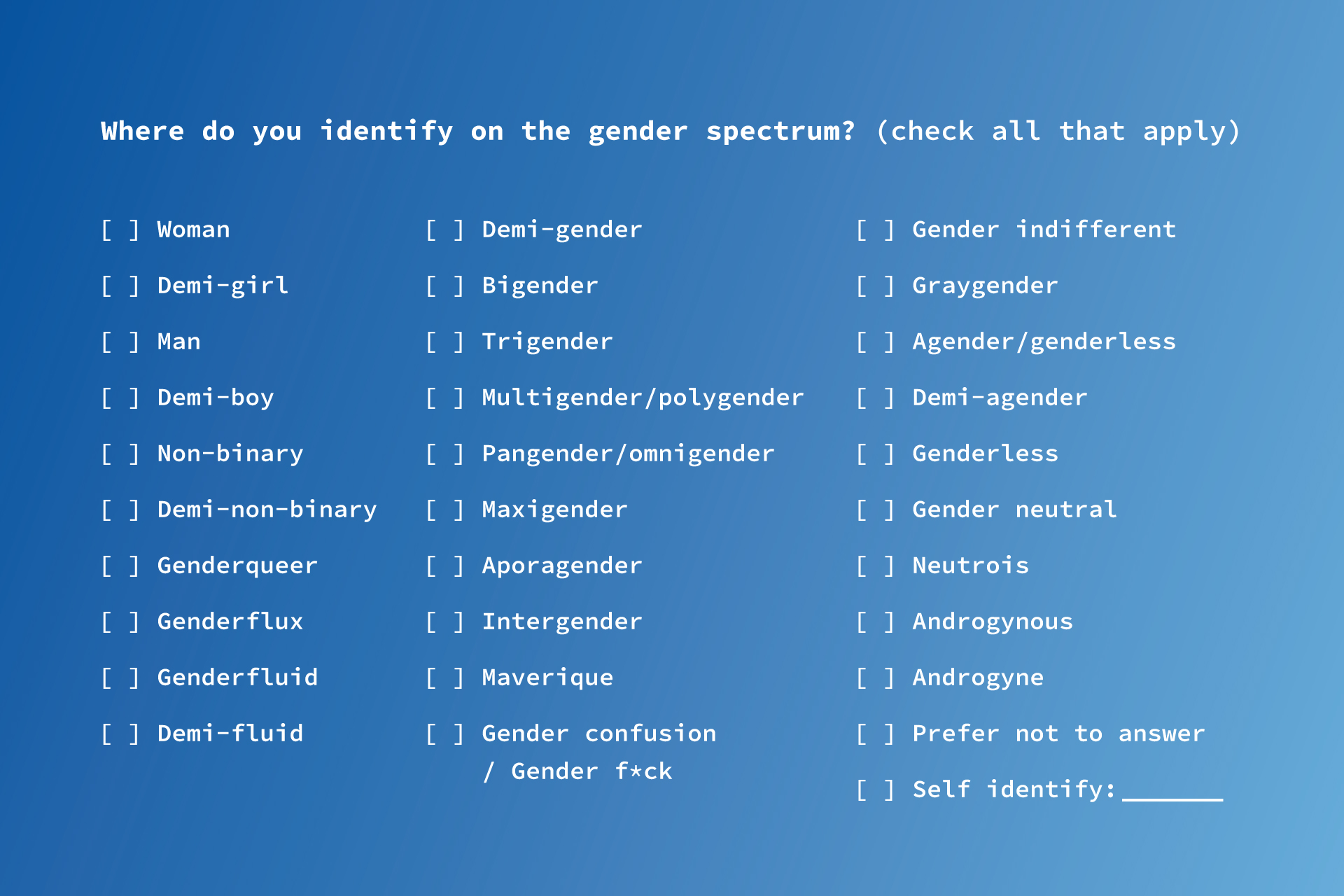 How the Open Demographics Initiative recommends you ask for gender information