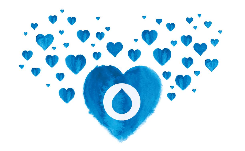 Dozens of blue hearts