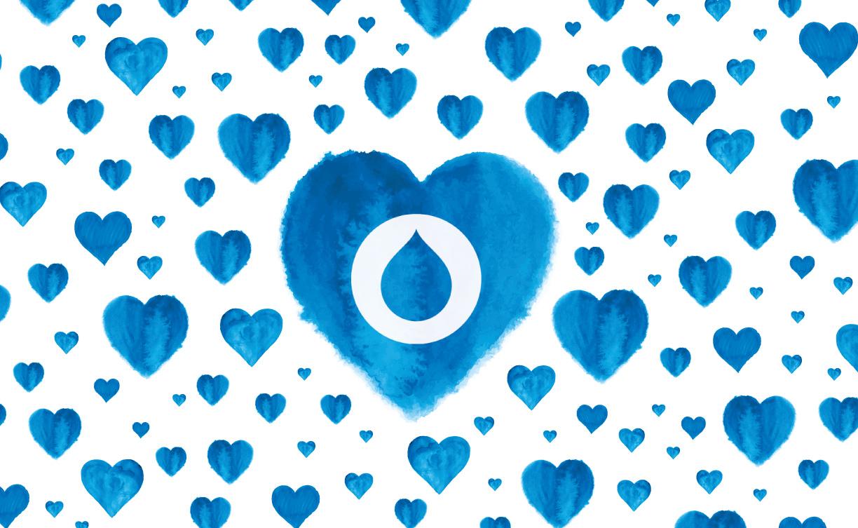 Hundreds of blue hearts