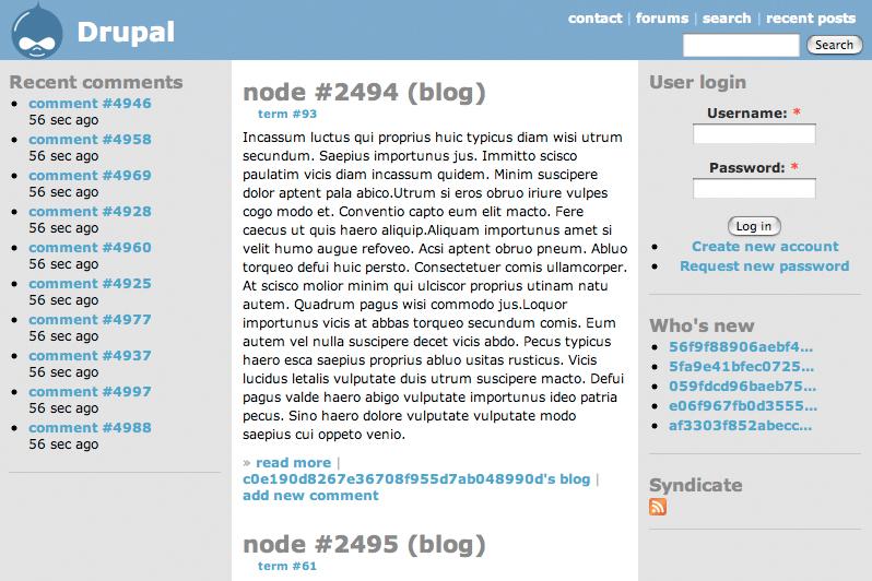 A Drupal 4.7 main page