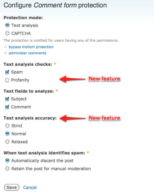 Mollom drupal text analysis strictness